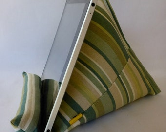 iPad / Kindle Lap Pillow Stand Bean Bag Stand : Green Stripe