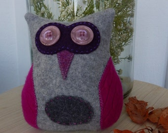 Recycled Cashmere Owl Tooth Fairy Pillow -   Grey and Pink