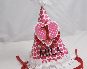 Heart Party Hat-1st Birthday Girl- Personalized