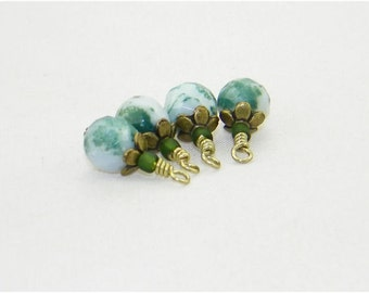 4 Handmade faceted tree agate gemstone beaded dangle drop charms, Hand wrapped beads for earrings, Charms, Pendants, Zipper pulls