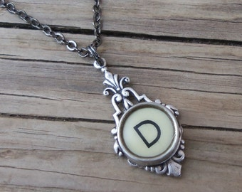 Typewriter Key Necklace Personalized Initial D, Teacher Gift deas
