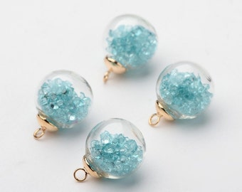2pcs Round Transparent Glass with SkyBlue Resin Rhinestone Pendants GGLA-F042