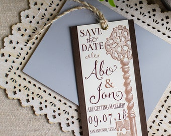 Vintage Key Save the Date Bookmark - skeleton key save the date -  vintage wedding - rustic wedding - book mark save the date - key to heart