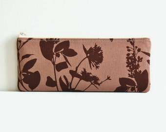 Long Zipper Pouch, Pencil Case, Organizer, Women and Teens, Wildflowers in Flax Joel Dewberry Ginseng