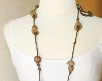 Vintage Handmade Pottery Bead Suede Leather Necklace OOAK, Earthy Rustic  Boho Necklace