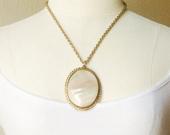 Huge Vintage Mother of Pearl Shell Cabochon Necklace, Filigree Setting MOP Necklace