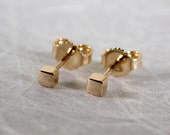 2.5mm Minimalist 18k Gold Square Studs Solid 18k Gold Earrings Simple Modern Studs by Susan Sarantos
