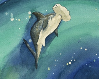 Unique Hammerhead Shark Art Related Items Etsy