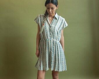 floral mini tea dress / floral pleated dress / m / 1969d / B7