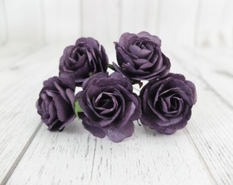 """5 35mm/1.4"""" dark purple paper roses - mulberry paper flowers with wire stems Style 1)"""