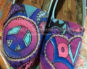 Peace love and paisleys in blues to purples Painted TOMS with BLING TOMS included