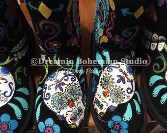Customized UGG boots, Celebration of Life, Calaveras, DESIGN FEE, gift for daughter, niece, cousin, Concerts, Festival, Custom Gift for Her
