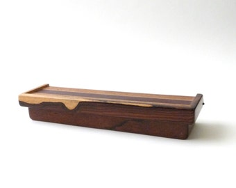 Modernist Handmade Wood Box  Hinged  Jewelry  Trinket Mid Century Modern