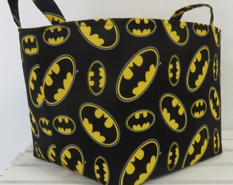 "Storage and Organization - Fabric Container Organizer Bin Basket - 8"" x 8"" x 8"" - Made with Licensed Batman Fabric"