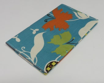 SAMPLE SALE - Ready to Ship - Checkbook Cheque Cover Case Money Coupon Holder - Moda Chrysalis by Sanae Blue Butterfly Flowers Leaves Fabric