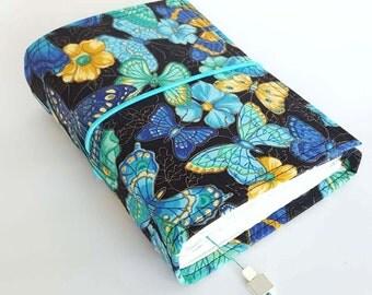 Butterflies Wrap Journal, Fabric,  Blue