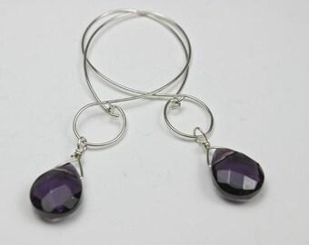 Long Amethyst Faceted Wire Earrings