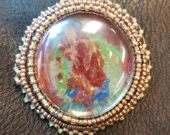 Hand Painted Bead Embroidered Cabochon