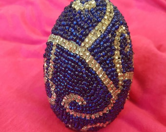 Beaded Wooden Egg