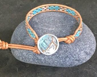 Berkeley Leather Wrap Bracelet Beaded  Vintage Map Button California Vintage Atlas ON SALE