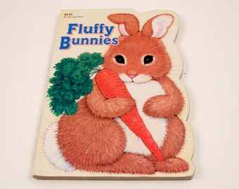 Fluffy Bunny Vintage Board Book - Shape Picture Book - Kathy Wilburn~ The Pink Room ~ 170306