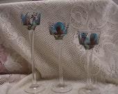 Glass Candle Holders, Turquoise and Brown.
