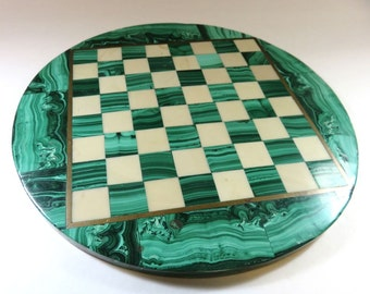 SJK Vintage -- Mid Century Round African Art Deco Malachite and White Marble Chessboard, Chess, Board, Nine Inches Diameter (1950's-70's)