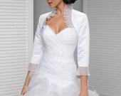 Satin Bridal Bolero, Satgin Wedding Bolero, Bridal Jacket with Organza Sleev es