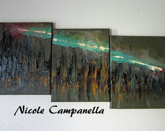 Acrylic Painting With Texture The Comet Abstract Wall Art Triptych Free US Shipping