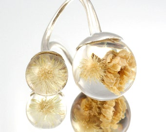 Double Dandelion and Daisy Ring, Sterling Silver Ring, Resin Jewellery