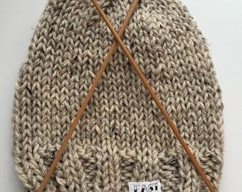 East Side Tattoo Knit Beige Tan Beanie Hat