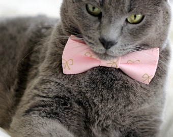 Pink Cat Bow Tie Collar - gold bows on pink cotton cat bow tie - kitten bow tie collar - dog bow tie - princess bow tie - party pet bow tie
