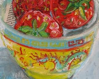 Three Strawberries original acrylic mixed media painting by Polly Jones