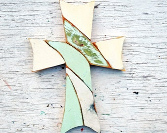 Green Mosaic Cross, Reclaimed Wood Cross, Religious Decor,Boho Cross Christian Wall Art Wood Wall Cross Wood Wall Art Bohemian Decor