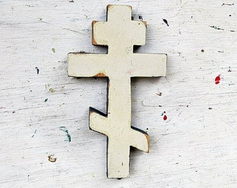 Reclaimed Wood Cross, Distressed Byzantine Cross, Greek Cross, Russian Cross, Ukranian Cross,  Wooden Wall Cross, Mint Green Cross