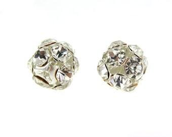 Vintage West German Rhinestone Ball Beads -Silver & Clear - (2X) (S572-B)