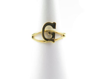 Vintage Gold Plated Adjustable Initial Letter G Ring (2X) (J517-G)