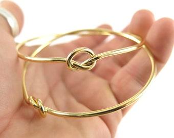 Gold Plated Wire Knot Bangle Bracelet (1x) (K401-C)