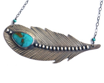 Sterling Silver Feather and Turquoise Necklace. Fear Not The Fall Inspirational Quote Necklace. American Turquoise Necklace. Rustic Hammered