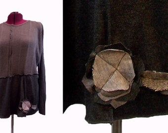 3X Asymmetric Floral Sweater Tunic Scarf Set  XXXL Plus Size Women Clothing Earthy Color Block Charcoal Gray Lagenlook