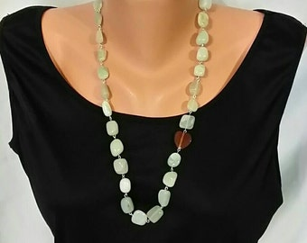 Light Jade and Carnelian Heart Chain Link Necklace