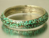 Vintage/ estate 1980s Kashmir silver tone and turquoise chip, semi precious bangle - jewelry jewellery