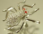 Vintage / estate 1980s silver tone, diamante rhinestone paste, spider bug insect costume brooch pin - jewelry / jewellery