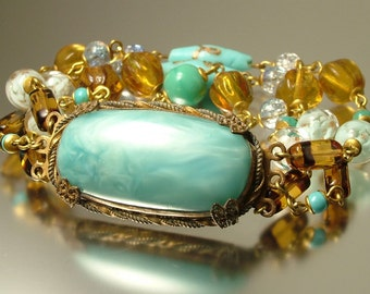 Vintage/ estate 1950s 1960s marbled, crackle blue and amber glass costume bracelet - jewellery jewelry