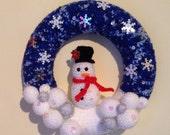 Christmas Wreath, Decorative Wreath, Snowman Wreath, Crocheted Wreath, Winter Wreath, Holiday Snowman, Christmas Snowman Decoration, Snowy
