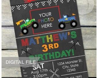 "Monster Truck Birthday Party Chalkboard Invitation - Photo - DIGITAL Printable Invite - 5"" x 7"""