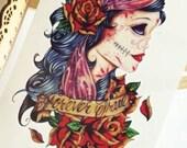 GYPSY LADY sugar skull temporary tattoo