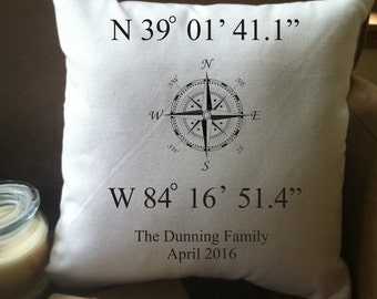 personalized home or wedding coordinates decorative throw pillow cover