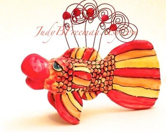 Fish Sculpture Figurine Tabletop Photo Holder Stoneware Ceramic Made to Order FSS00010