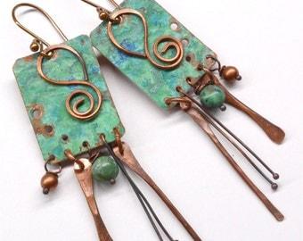 Rustic Copper Earrings E791